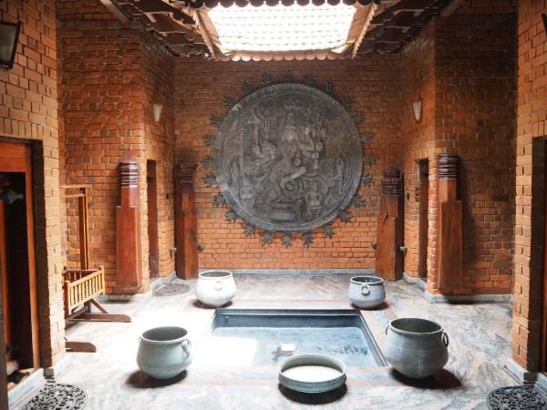 Ayurvedakur in Kerala - Der Innenhof dieses wunderschönen Häuschens.