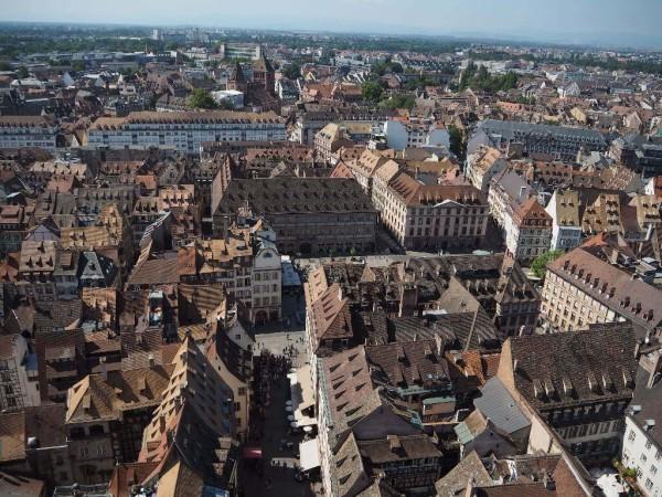 Ausblick vom Straßburger Münster auf die Stadt